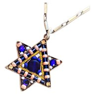 Vintage Colorful Star of David Swarovski crystals and beads Handmade by ADAYA Israel.
