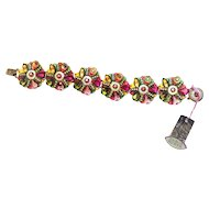 Vintage  Colorful-Bracelet-Swarovski-crystals-and-beads-Handmade-by-ADAYA  Israel
