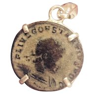 Sterling Silver Ancient Coin Jewelry, Authentic Roman Coin Pendant.