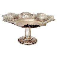 Round Bukharan Silver  Pierced  Fruit Bowl Basket, Circa 1870.