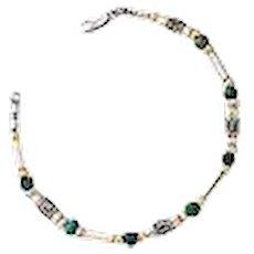 Silver and Gem stones Initial bracelet.Israeli Jewelry.