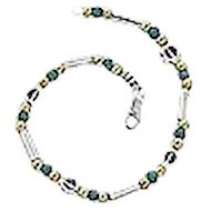 Silver and Gem stones Initial bracelet.Israeli Jewelry.