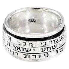 3 Blessings Silver Spinner Rings. Israeli Jewelry.