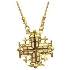 Silver Gold plated convertible Jerusalem Cross necklace.
