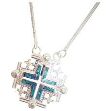 Silver Convertible Jerusalem cross with Opals.