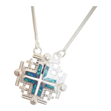 Silver Convertible Jerusalem cross with Opals.