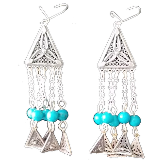 Sterling Silver filigree Earrings with Turquoise stones