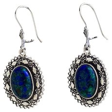Sterling Silver filigree Earrings with Eilat Stone-king Solomon stone.