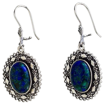 Sterling Silver filigree Earrings with Eilat Stone-king Solomon stone.