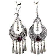 Sterling Silver filigree Earrings with Garnets