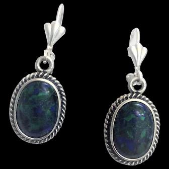 Silver earrings set with Eilat stone-King Solomon  stone.