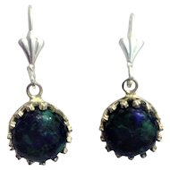 Silver earrings set with Eilat stone-King Solomon  stone.