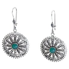 Sterling Silver filigree Earrings with Eilat Stone.