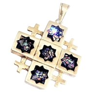 Sterling Silver Jerusalem  Cross Pendant with Ancient Roman Glass
