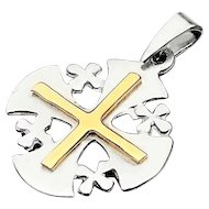 Sterling Silver and Gold Jerusalem  Cross  Pendant .