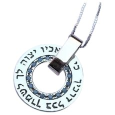 """He Will Command His Angels to Keep You In All Your ways"""" Silver and 9K gold kabbalah necklace"""