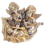 Vintage Silver sculpture of Baby Jesus with two Angels. Israeli Art.