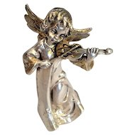Vintage Silver sculpture of Angel playing the Violin . Israeli Art.