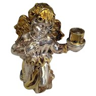 Vintage Silver sculpture of Angel Holding candle