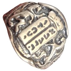 Silver Ten Commandments and Lion of Judea Ring. Israeli Jewelry.