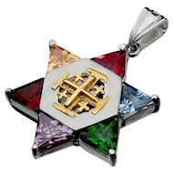 Sterling silver star of David, Integrated with 9 k Jerusalem Cross.