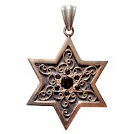 Vintage Silver and Gold Star of David set with garnets