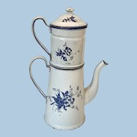 Antique French Enamel Coffee Pot Biggin *Nice*