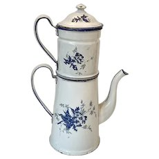 Antique French Enamel Coffee Pot Biggin *Nice*