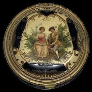 Lovely Enamel and Leather Compact - Courting Scene