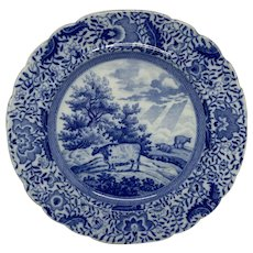 Early Rare Durham Ox Blue and White Transferware Plate