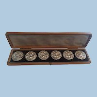 Antique Sterling Silver Cherub Button Set London dated 1900 Putti