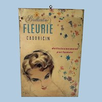 French 1950's Tin Advertising Sign Brillantine Fleurie Cadoricin