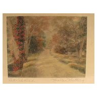 "Classic Wallace Nutting Signature Landscape ""Dell Dale Road"" Print"