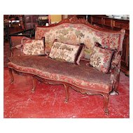 Elegant French Walnut Louis XV Tapestry Sofa