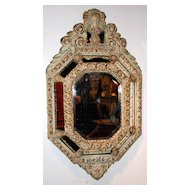 Sweet Painted French Beveled Cushion Mirror