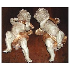 Musical Pair of Hand- Carved 18th Century Angels