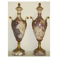 Elegant Pair of French Marble Cassolettes
