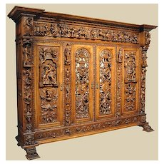 Amazing 19th C. Carved Walnut Bookcase