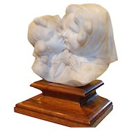 Italian Marble Sculpture on Base, Affortunato Gory