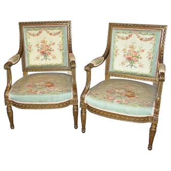 Pair of Louis XVI Style Gilt Armchairs