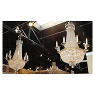 Fabulous Pair of Montgolfier Crystal Chandeliers