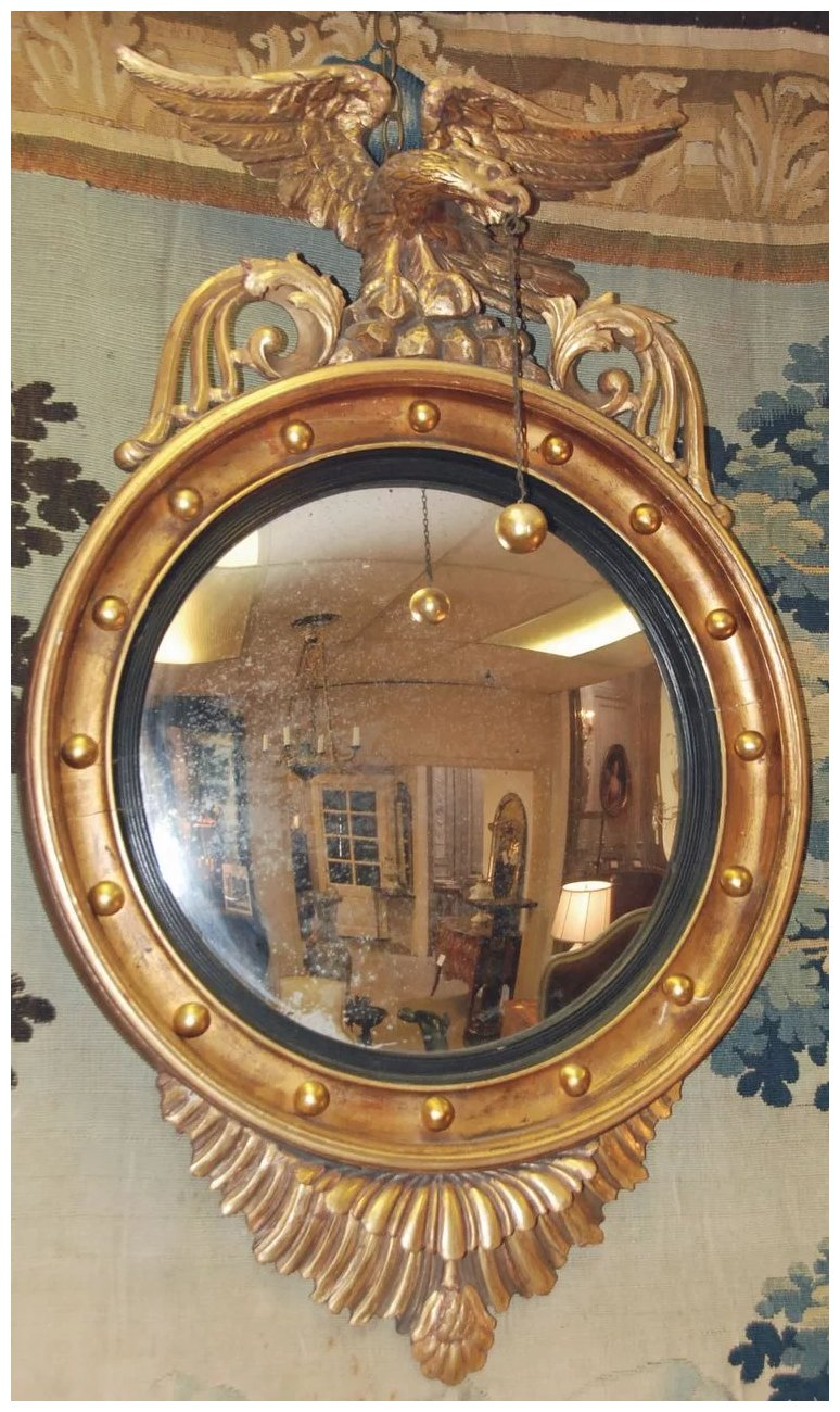 English Regency Eagle Convex Mirror Antiquing With