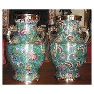 Fabulous Pair of Cloisonne Vases