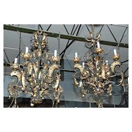 Pair of French Iron Chandeliers