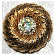 Stunning Crystal & Rhinestone Round Goldtone Pin