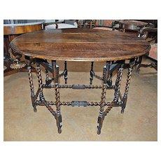 English Oak Gate Leg Barley Twist Table