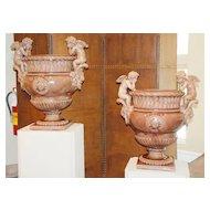 Pair of French Ceramic Urns