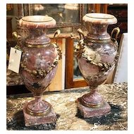 Stunning Pair of Large Marble Cassolettes