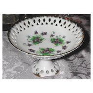 Wonderful Hand-Painted Lefton Violet Pedestal Tidbit Dish