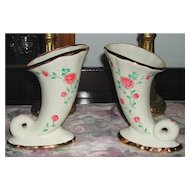 Very Pretty Pair of Le Noir Hand-Painted Purinton Slip Ware Cornucopia's